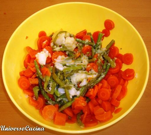 Le verdure lessate e tagliate