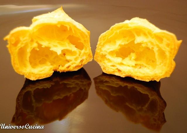 I beignets cotti visti in sezione